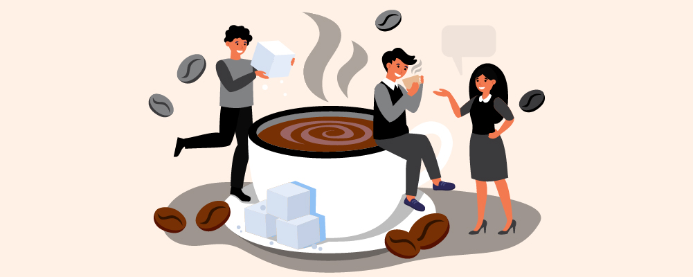 3 person near a giant cup of coffee adding sugar cubes